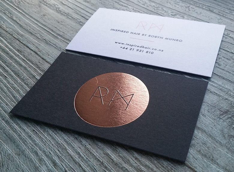 Foil printed business cards new zealand fancy high end busines one way of achieving white print is by using a white foil it is a beautiful print finish below is white on kraft and white on black card reheart