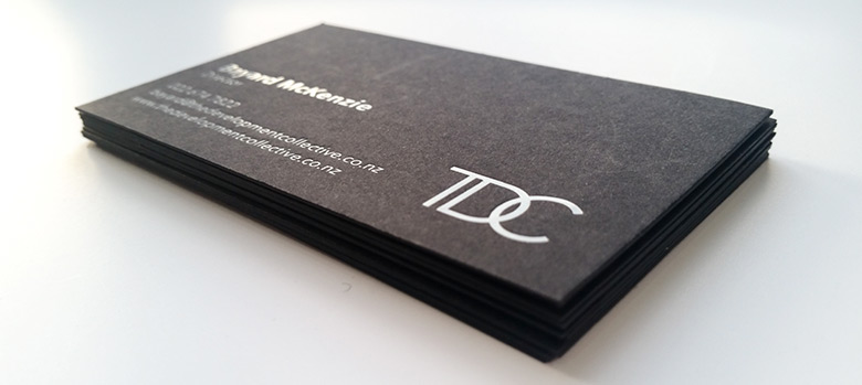 Foil printed business cards new zealand fancy high end busines it is a beautiful print finish below is white on kraft and white on black card the stamping process on these two stocks has a slight intented effect colourmoves