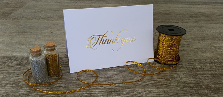 foil thank you cards for sale