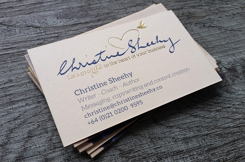 Foil printed business cards new zealand fancy high end busines one way of achieving white print is by using a white foil it is a beautiful print finish below is white on kraft and white on black card reheart Image collections