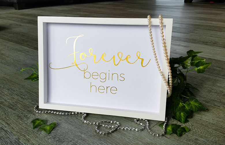 wedding signs in foil