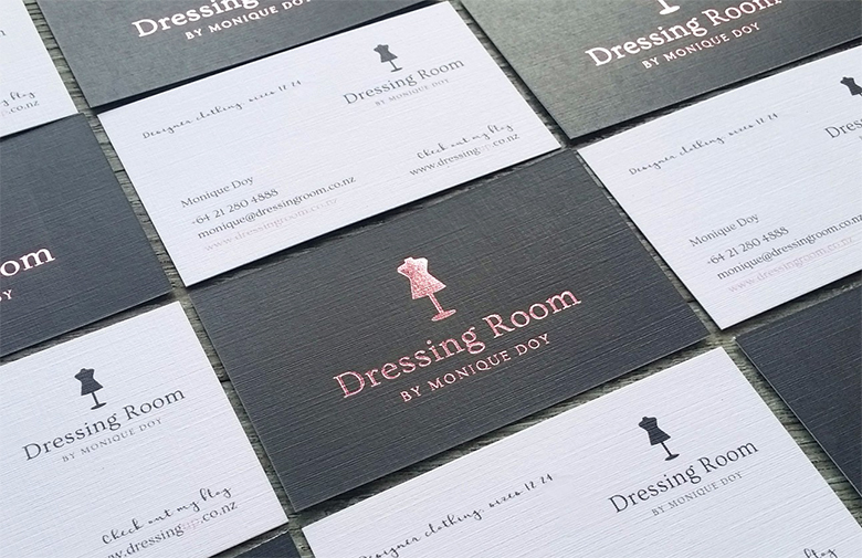 rose gold on charcoal linen cards