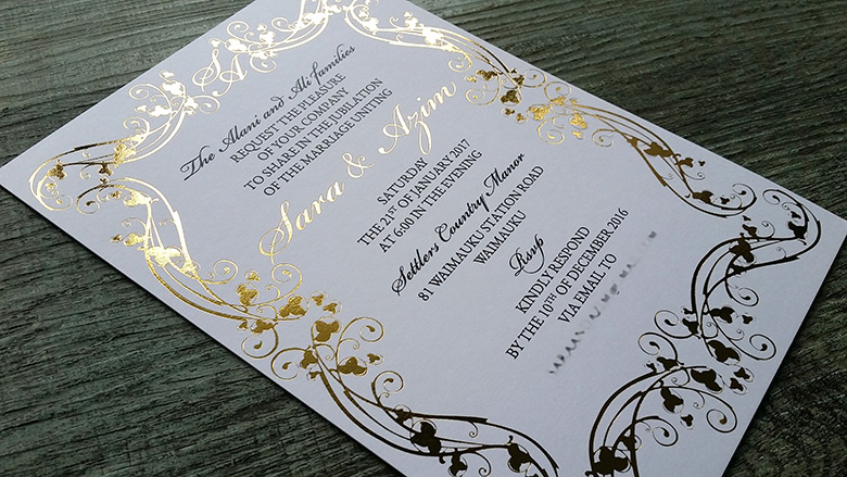 Foil Printed Wedding Invitations New Zealand Silver Gold Black White