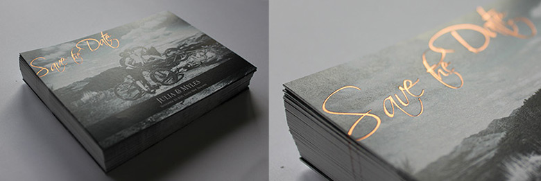 copper foil save the date cards