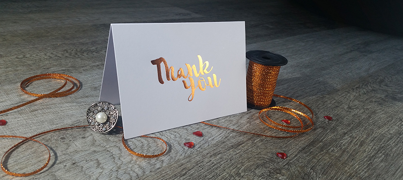 copper foil thank you card new zealand